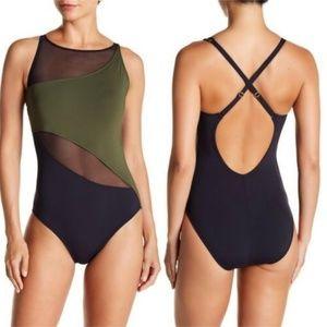Bleu Rod Beattie Black One Shoulder Mesh Swimsuit
